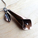 Copper And Sterling Silver Lily Pendant
