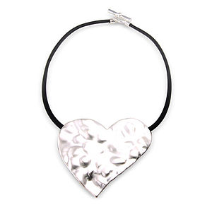 Silver Heart Necklace With T Bar Clasp - necklaces & pendants
