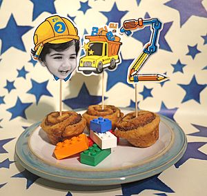 Personalised Construction Themed Cake Toppers - children's parties