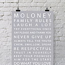 Personalised Family Rules Print Canvas