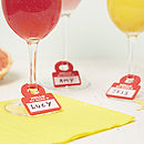Set Of Six Personalised Wine Glass Charms