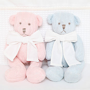 Knitted Teddy Bear With Personalised Gift Bag