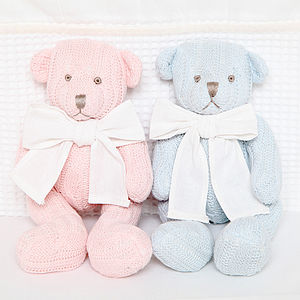 Knitted Teddy Bear With Personalised Gift Bag - christening gifts