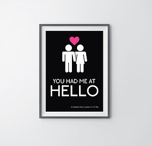 'You Had Me At Hello' Personalised Wall Art - paintings & canvases