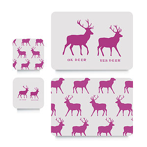 Pink Stag Coaster Or Placemat - placemats & coasters