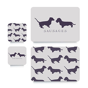 Sausage Dog Coaster Or Placemat - placemats & coasters