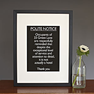 Personalised Framed 'Polite Notice…Hotel'