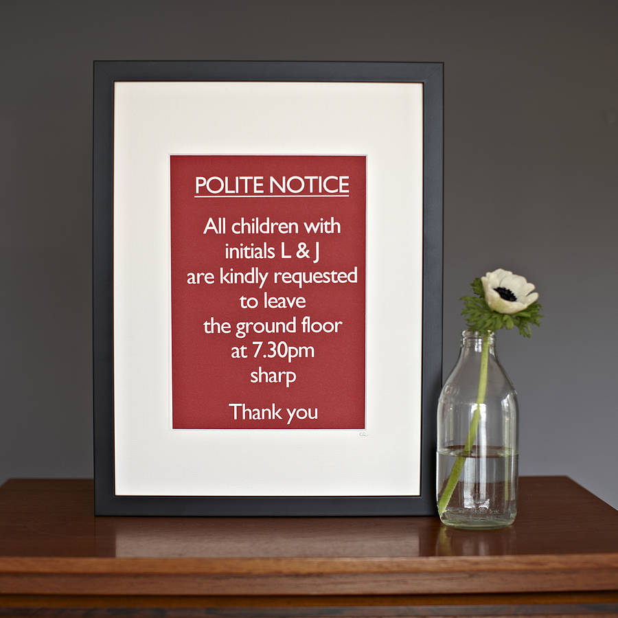 personalised framed \'polite notice…hotel\' by catherine colebrook ...