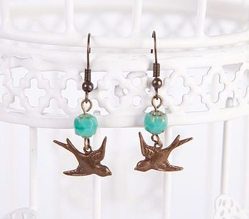 Vintage Bronze Bird Earrings