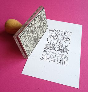 Personalised Lovebirds Wedding Stamp