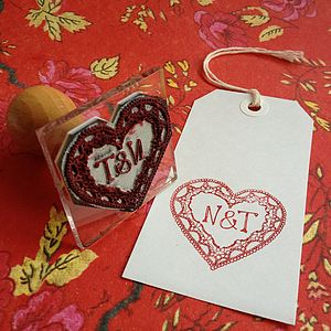 Personalised Deco Heart Initials Stamp - table decorations
