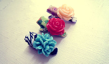 Floral Origami Petite Alligator Hair Clips