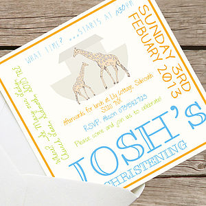 Personalised Noah's Ark Christening Invites - shop by price