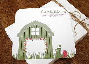 Wellies And Barn Folded Wedding Stationery