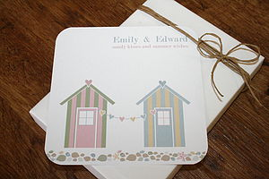 Beach Hut Folded Wedding Invitations