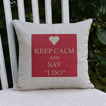 'I Do' Valentine Linen Cushion