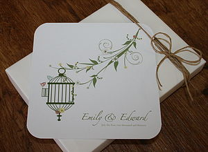 Vintage Birdcage Folded Wedding Invitations - save the date cards
