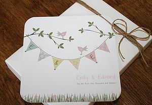 Bird And Bunting Folded Wedding Invitations