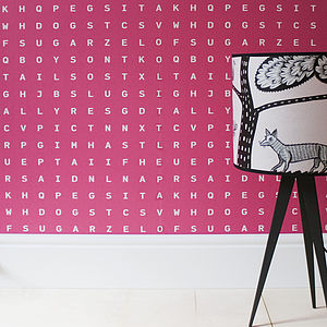 'Sugar And Slugs' Word Search Wallpaper Raspberry - bedroom