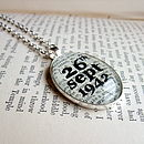 Personalised Date Book Page Pendant