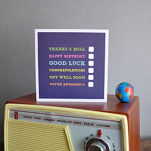 Multi Tick Greeting Card - thank you cards