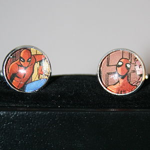 Personalised Silver Plated Superhero Round Cufflinks - cufflinks