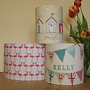 medium bunting, small beach huts (pink), large flamingoes