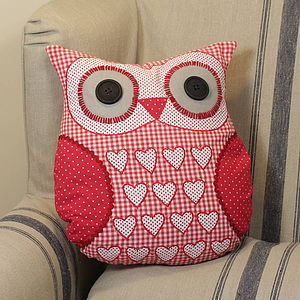 Hearts Owl Cushion - soft furnishings & accessories
