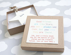Personalised Wooden Friendship Star - stocking fillers for her
