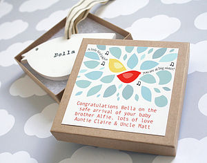 Personalised Wooden Bird Keepsake - gifts for babies