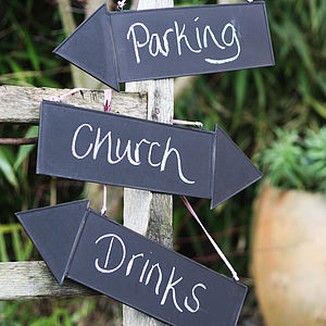 Blackboard Arrow Sign With String To Hang - outdoor decorations