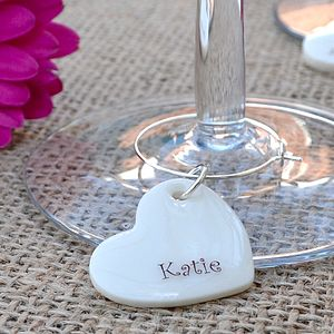 Set Of 10 Personalised Party Glass Charms - wedding table styling