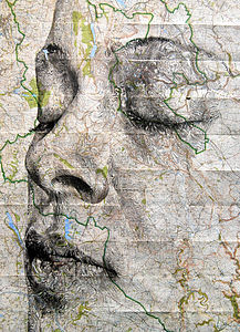 Peak District Map Portrait Print - contemporary art