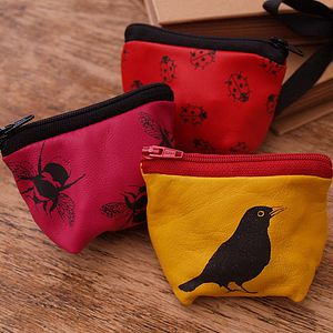 Birds, Bees And Ladybirds Leather Purse - bags & purses