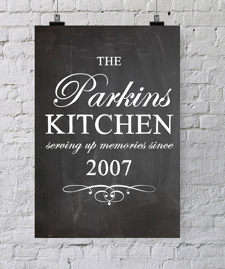 Personalised Kitchen Chalkboard Poster