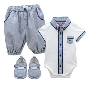 French Baby Boy Body Shorts And Bootie Set - children's clothing