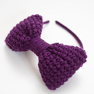 Crocheted Bow Headband - hair accessories