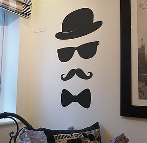 Moustache Hat Glasses And Bow Tie Decal - wall stickers