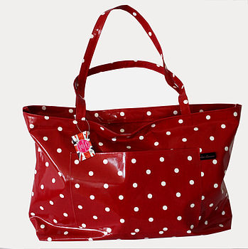 Oilcloth Red Spotty Weekend Bag