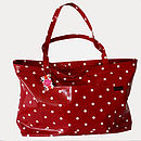 Oilcloth Red Spotty Beach Bag