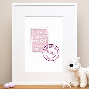Personalised New Baby Gift Stamp Print