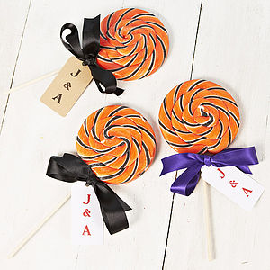 Giant Swirly Orange Personalised Lollipop - children's parties