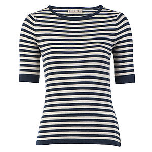 Breton Cotton Knitted Navy Top - tops & t-shirts