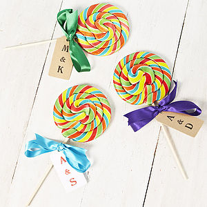 Personalised Giant Rainbow Swirly Lollipop - edible favours