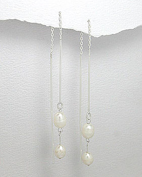 Sterling Silver Double Pearl Drop Earrings
