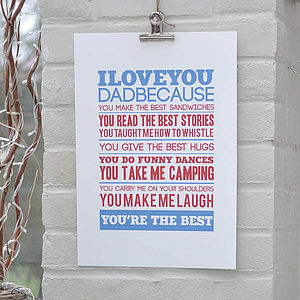Personalised 'I Love You' Father's Day Print - pictures, prints & paintings