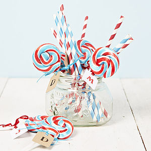 Personalised British Swirly British Lollipop - edible favours
