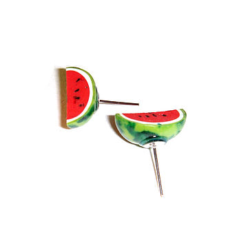 Miniature Watermelon Segment Earrings