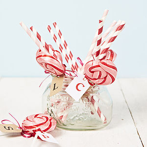 Personalised Pink Swirly Lollipop - wedding favours