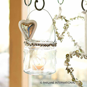 Glass Heart Tealight Holder With Bells